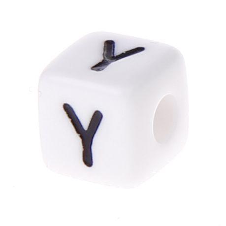 Buchstabenwürfel Kunststoff 10x10mm weiß/schwarz • 10 Stk 'Y' 255 auf Lager