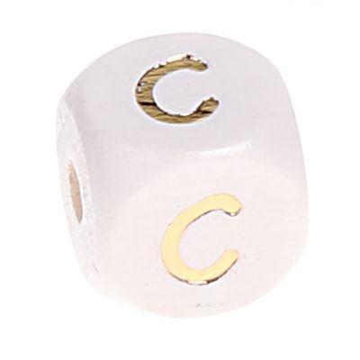 Buchstabenperlen weiss-gold 10mm x 10mm 'C' 173 auf Lager
