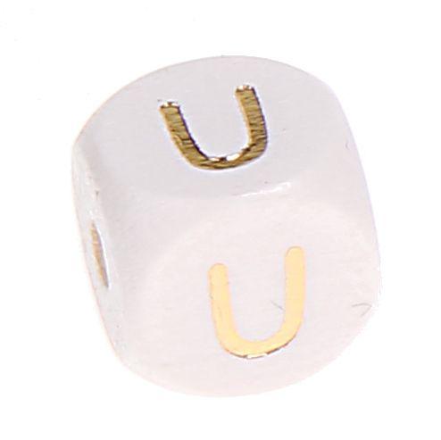 Buchstabenperlen weiss-gold 10mm x 10mm 'U' 43 auf Lager