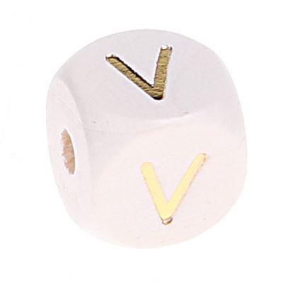 Buchstabenperlen weiss-gold 10mm x 10mm 'V' 0 auf Lager