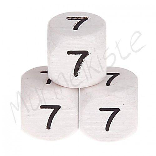 Buchstabenperlen weiß 10x10mm geprägt '7' 456 auf Lager