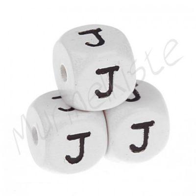 Buchstabenperlen weiß 10x10mm geprägt 'J' 221 auf Lager