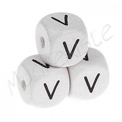 Buchstabenperlen weiß 10x10mm geprägt 'V' 1743 auf Lager