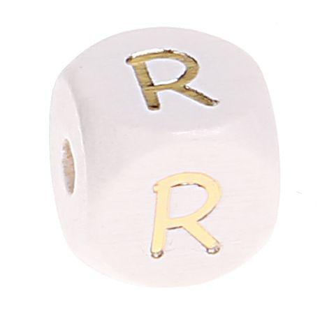 Buchstabenperlen weiss-gold 10mm x 10mm 'R' 0 auf Lager
