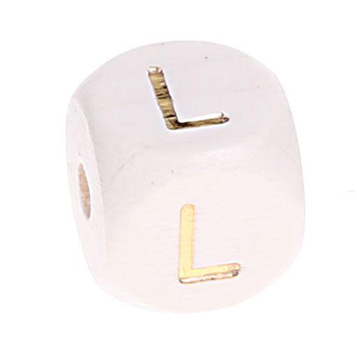 Buchstabenperlen weiss-gold 10mm x 10mm 'L' -1 auf Lager