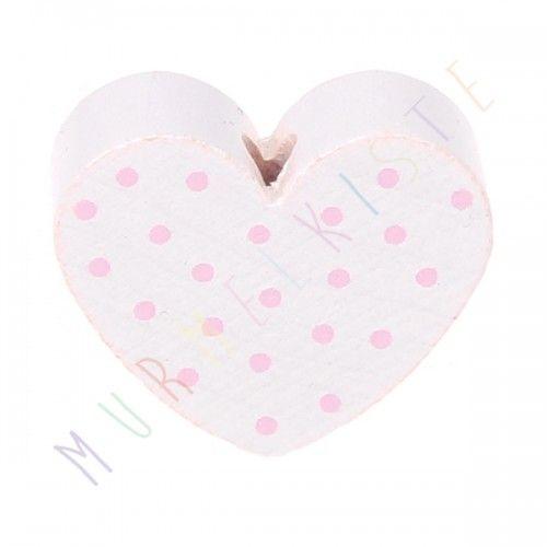 Motivperle Herz gepunktet 'weiß-rosa' 306 auf Lager