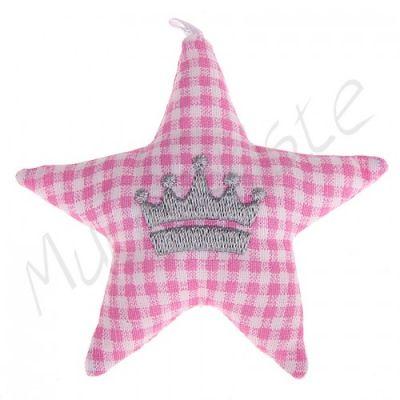 Stoffstern mit Motiv 'Krone-rosa' 0 auf Lager