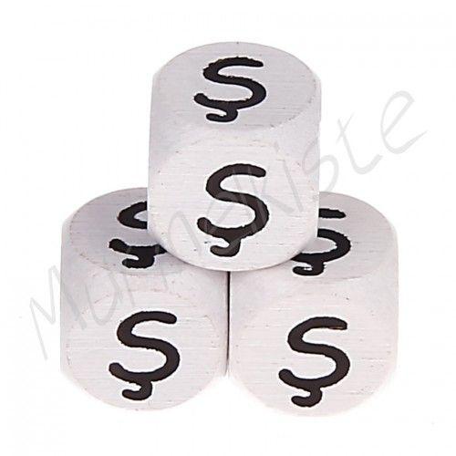 Buchstabenperlen weiß 10x10mm geprägt 'Ş' 106 auf Lager