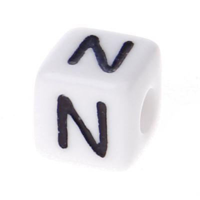 Buchstabenwürfel Kunststoff 10x10mm weiß/schwarz • 10 Stk 'N' 298 auf Lager