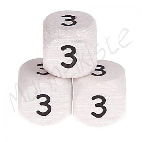 Buchstabenperlen weiß 10x10mm geprägt '3' 416 auf Lager