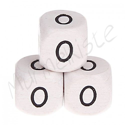 Buchstabenperlen weiß 10x10mm geprägt '0' 228 auf Lager