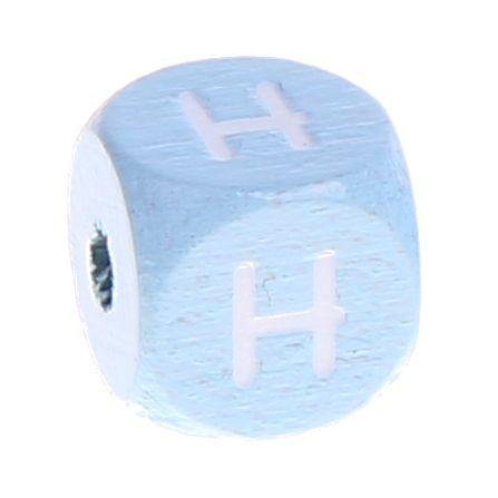 Buchstabenperlen babyblau 10x10mm 'H' 672 auf Lager