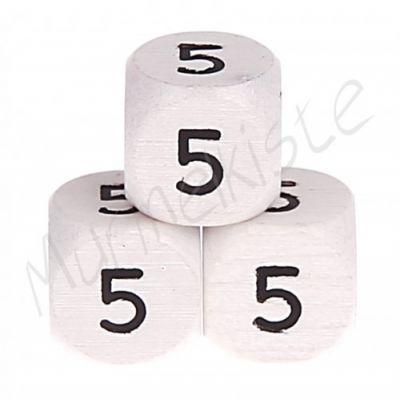 Buchstabenperlen weiß 10x10mm geprägt '5' 432 auf Lager